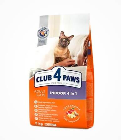 корм клуб 4 лапы для кошек живущих в помещении