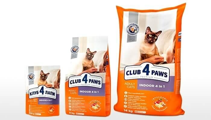 Особенности корма клуб 4 лапы «4 в 1» для кошек, живущих в помещении